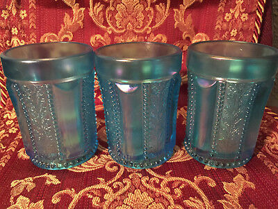 Three St Clair Glass Carnival Blue Tumblers Paneled Beaded Holly