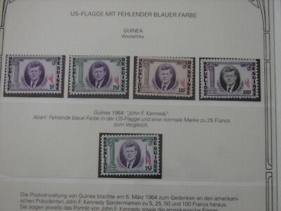 (BN22) GUINEA 1964 John F. Kennedy superb MNH set, MAJOR VARIETIES: MISSING BLUE