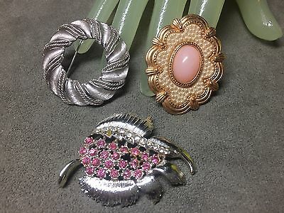 Lot of 3 THREE Vintage Multi Themed Rhinestone Enamel Costume Jewelry Style Pins