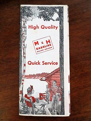 1940s M & H Gasoline Gas Station North South Dakota State Highway Road Map ND SD