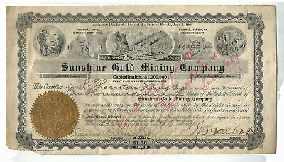 Circa 1907 SUNSHINE GOLD MINING COMPANY Stock Crtificate