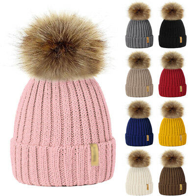 Children Kids Baby Winter Knitted Beanie Ski Hat Detacheble Faux Fur Bobble Pom
