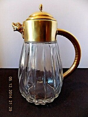 "Vintage Italian Brass Classic Fluted Glass 9-1/4"" Tall Carafe W/ Lion Head Spout"