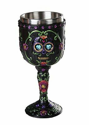 Egift Day of the Dead Black Sugar Skull Floral Wine Goblet Chalice Collection