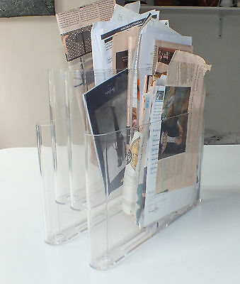 vintage kartell magazine rack 4675 by giotti stoppino italy clear acrylic