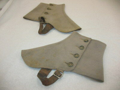 """Antique Victorian Boot Shoe Cover 1 pair Wool Spats Gray 8"""" X 6.5"""" AS IS ~85J7"""