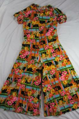 Vtg 60s 70s Womens Palazzo One Piece Jumpsuit Mod Hippie Boho Abstract Suit