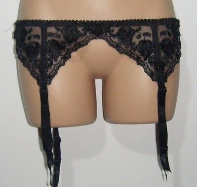 New Silky Black Lacy Suspender Belt Size Small / Medium  30""
