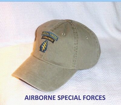 ARMY AIRBORNE KHAKI Special Forces GREEN BERET OPERATIONS   OPS 2 TAB CAP HAT .
