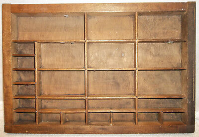 Antique Wood Printer's Print Typeset Tray Drawer Shadow Box Unusual Small Size