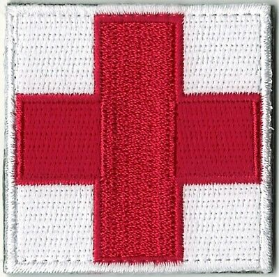 Red White Medic Red Cross Paramedic Patch VELCRO® BRAND Hook Fastener Compatible