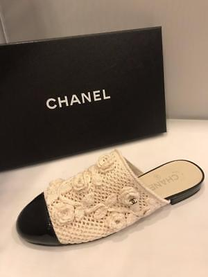 8e3b34dab10 CHANEL 17C Crochet Knit Camellia Flower Flat Mules Sandal Shoes Beige Black   850