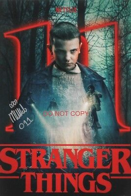 """Stranger Things Eleven Millie Bobby Brown Reprint SIGNED 12x18"""" Poster Netflix"""