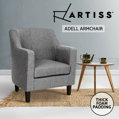 ADELL Armchair Tub Dining Chair Accent Single Sofa Lounge Padded Fabric Grey