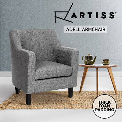 ADELL Armchair Tub Dining Chair Wooden Accent Sofa Lounge Padded Fabric Grey