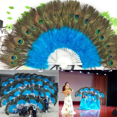 Colorful Handmade Folding Feather Hand Peacock Eye Fan Retro Dance Decoration