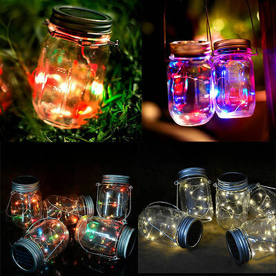 1 Pack LED Fairy Light Solar Mason Jar Lid Light Color Changing Garden Decor