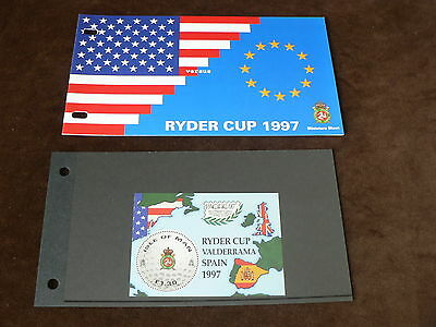1997 Isle of Man Presentation Pack, Ryder Cup m/s, Golf, MNH, Mint