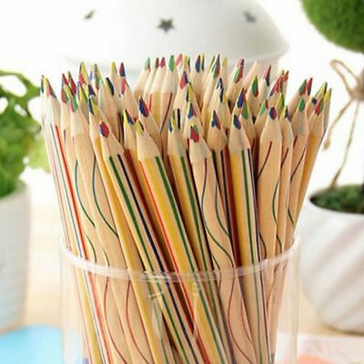 10Pcs Rainbow Color Pencil 4 in 1 Colored Drawing Painting Pencils Kids TU