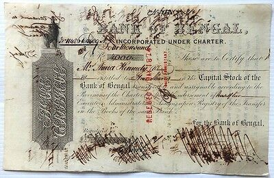 India 1864 Bank of Bengal share certificate