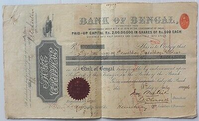 India Bank of Bengal 1906 share certificate with QV Share Transfer 2R8a x 3