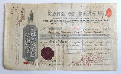 India 1904 Bank of Bengal Share Certificate w KEdVII Share Transfer 10R x 7 etc