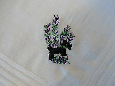 Ladies Embroidered Handkerchiefs - Scottie Dog