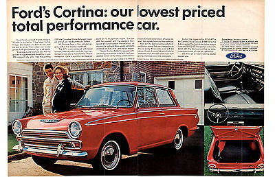 1966 Ford Cortina Gt  ~  Nice Original 2-Page Print Ad