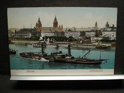 German Sidewheel Steamer MATHIAS STINNES Naval Cover post card MAINZ, GERMANY
