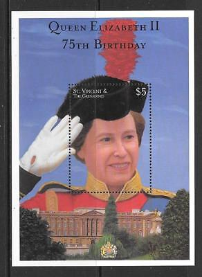 ST.VINCENT SGMS4936 2001 75th BIRTHDAY OF QUEEN ELIZABETH  MNH