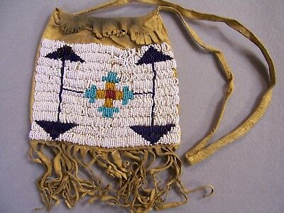 Authentic Circa 1910 Northern Plains Native Tanned Beaded Bag