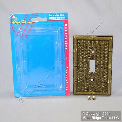 New Leviton Antique Brass Finish Bamboo Tiki Metal Switch Cover Wall Plate 89601