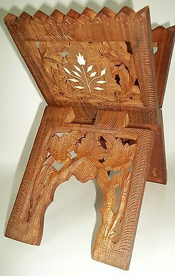 Carved Wood Book Holder Folding Stand w/ Decorative Inlay ~ Make Offer