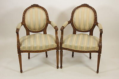 Pair Matching Chairs French Provincial Louis XVI Style Carved Wood Round Back