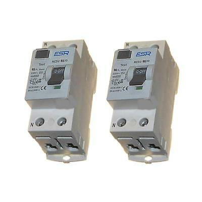 ESR 63A 80A 30mA 100mA RCD TRIP SAFETY SWITCH WITH  DOUBLE POLE 230V