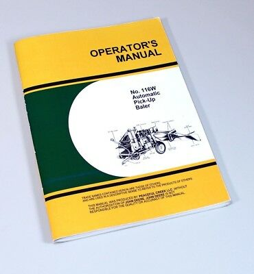 Parts Manual For John Deere 114 116 114w 116w Automatic Square Baler