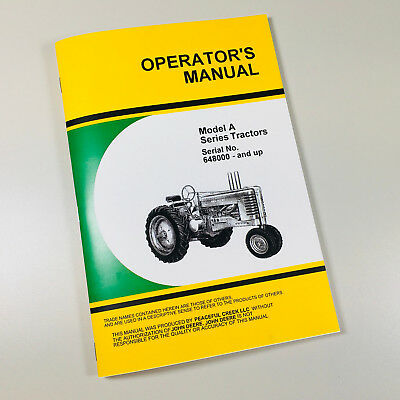 Operators Manual For John Deere Model A An Aw Tractor Series Owners