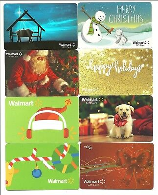 Lot Of 8 Walmart Christmas Holiday Winter Gift Cards No Value
