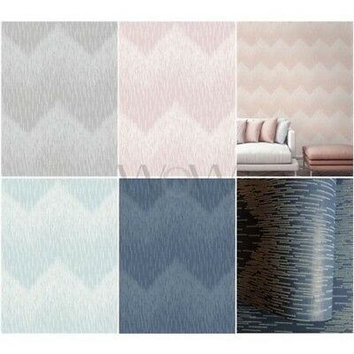 Holden Decor Fragment Chevron Glitter Wallpaper - Teal Blue Grey Blush Pink