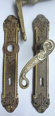2 x  Antique Solid Brass Door Lever Handles set Back Plates -Keyhole Covers  II