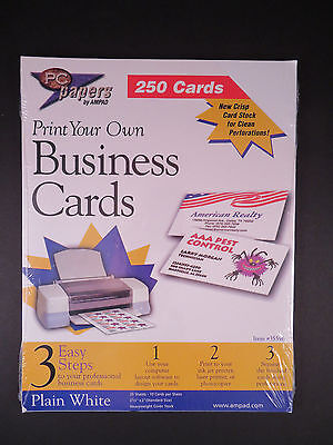 AMPAD - Print your own Business Cards - 250 - Plain White - NEW