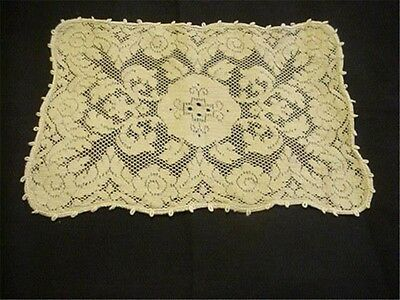 Antique Woven Lace Centerpiece Runner Doily  Hearts SO Romantic WOW!