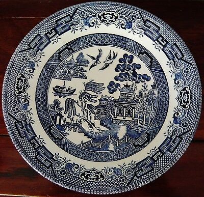 """BLUE WILLOW"" 4 DINNER PLATES 26.5 cms - CHURCHILL TABLEWARE"