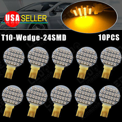 10X Amber Yellow T10 24SMD LED Car RV Trailer Landscaping Light Interior Bulbs
