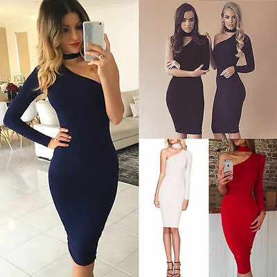 Women One Shoulder Choker Bodycon Midi Dress Ladies Evening Cocktail Party Dress