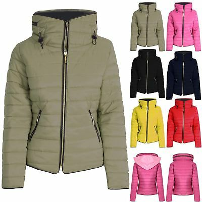 Kids Girls Boys Padded Quilted Puffer Bubble Hooded Fur Collar Warm Jacket Coat