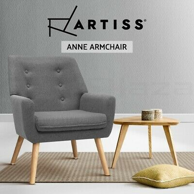 ANNE Armchair Tub Dining Chair Wooden Accent Sofa Lounge Padded Fabric Grey