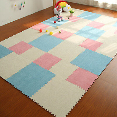 Soft Puzzle Interlocking Baby Kids Play Mats Plush Eva Foam Exercise Floor Mat