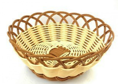 """Natural and Brown Color Poly Woven Bread Basket (Round 8""""D x 3.5""""H)"""