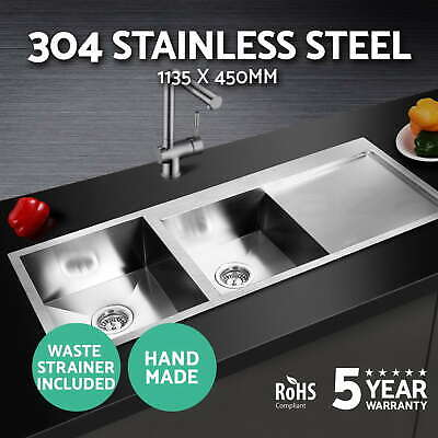 Cefito 1135x450mm 304 Stainless Steel Kitchen Double Sink Laundry Handmade Bowl